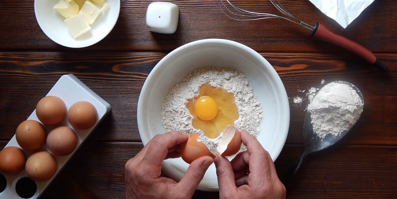 Baking with flour, egg and butter