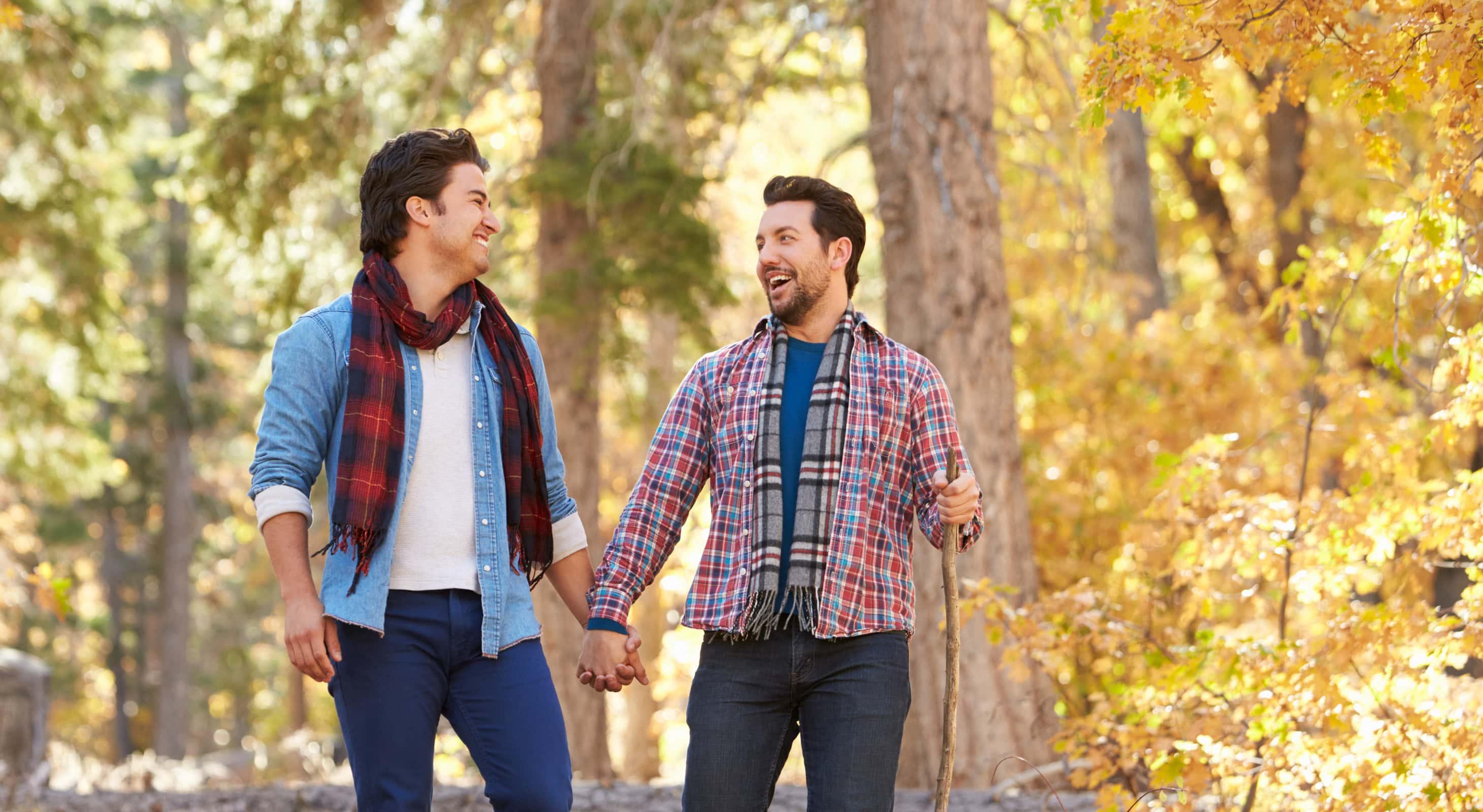 A couple on a romantic fall hike getaway