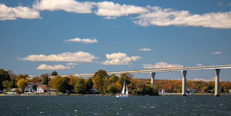 Scenic autumn view from Solomons Island where the Chesapeake Bay meets the Patuxent River in Southern Maryland USA