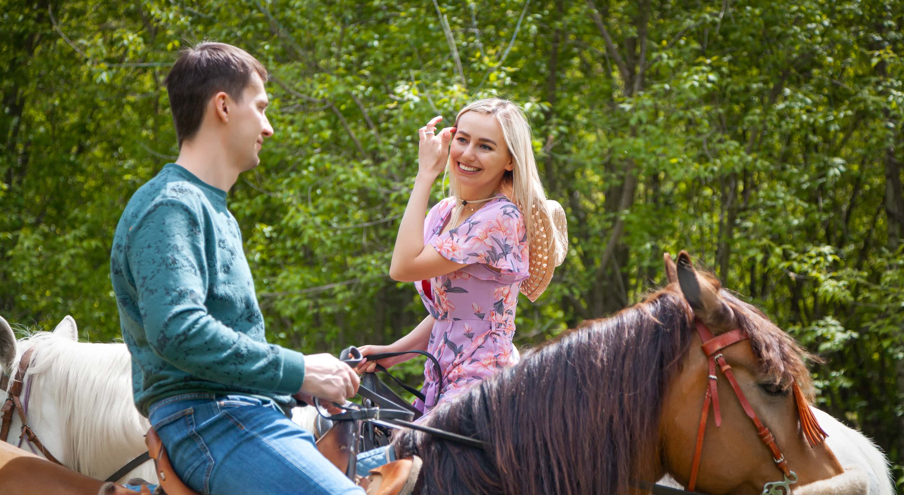 Couple on a romantic horseback ride in MD