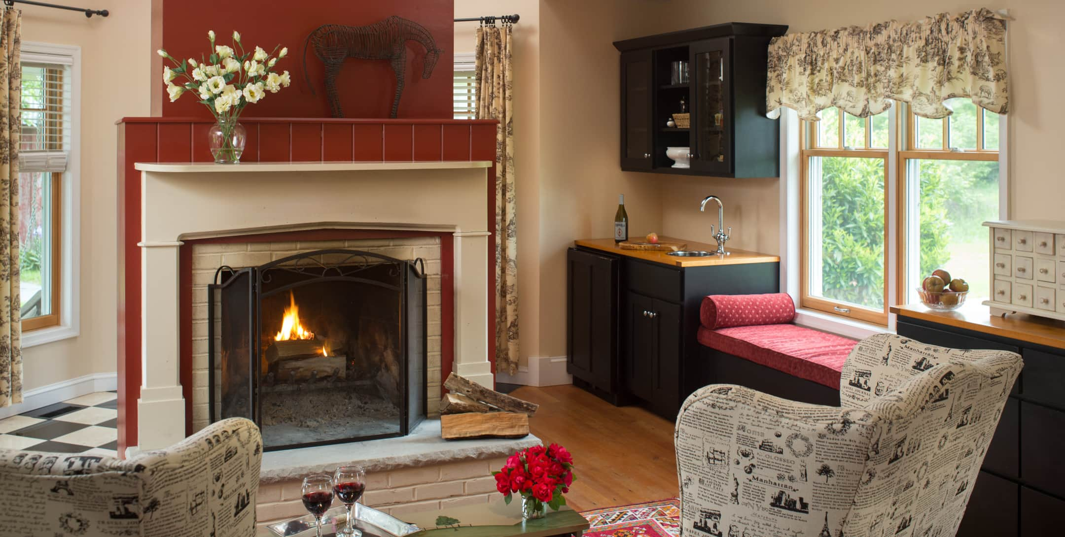 Marley's Cottage fireplace and seating area