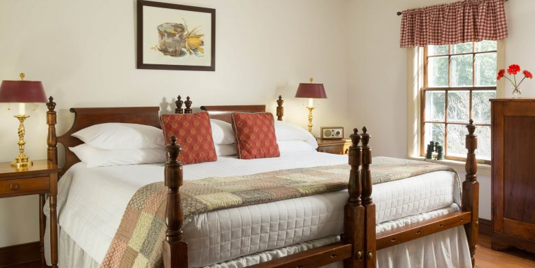 King bed in the Fairy Hill Suite at Brampton Inn