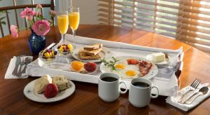 Breakfast for two served in your room