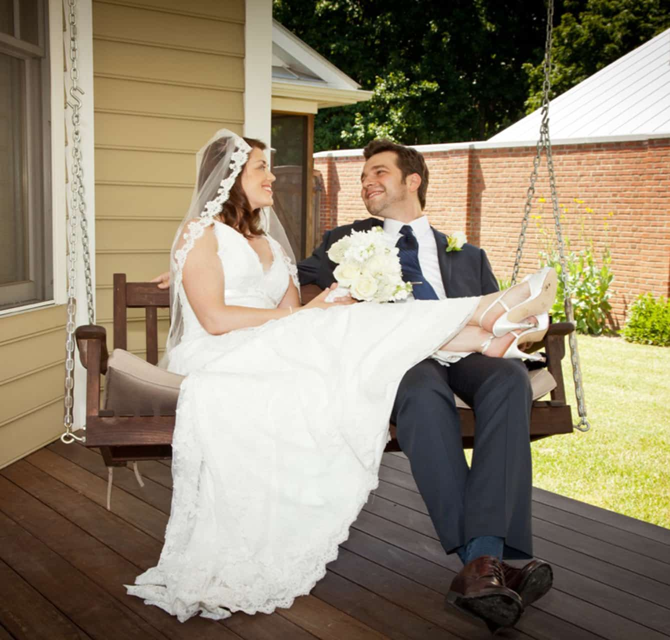 Married couple on a porch swing
