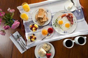 Overhead view of breakfast