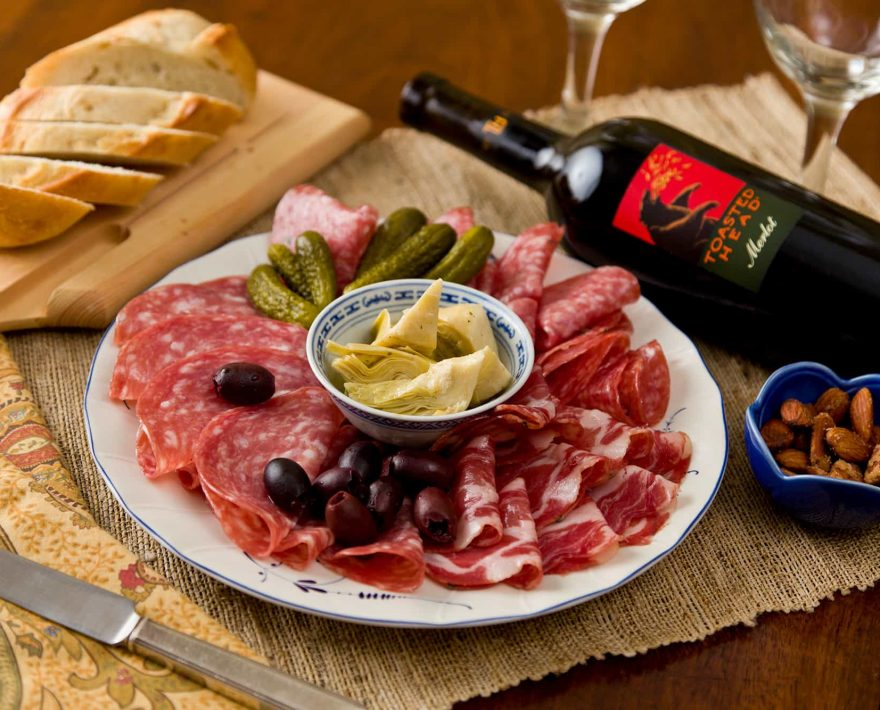 Charcuterie, bread and wine