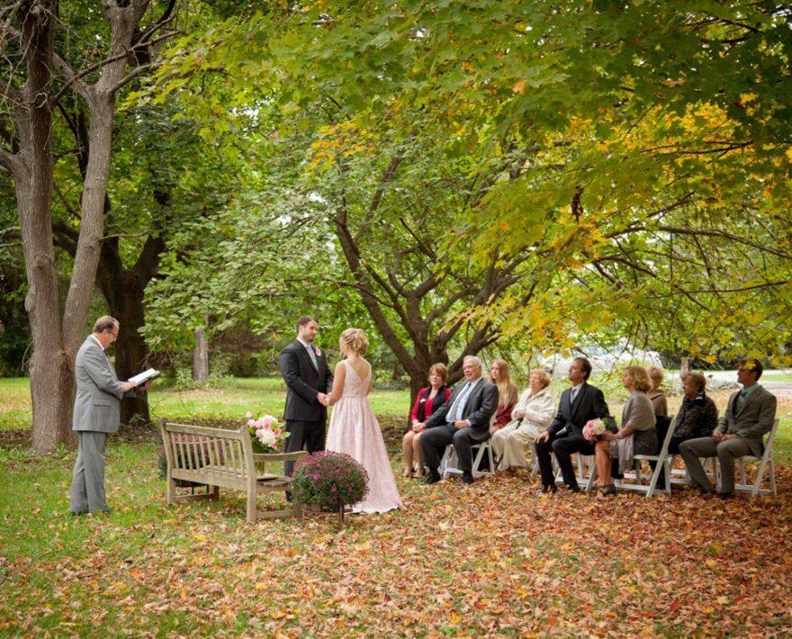 Small, intimate outdoor wedding ceremony