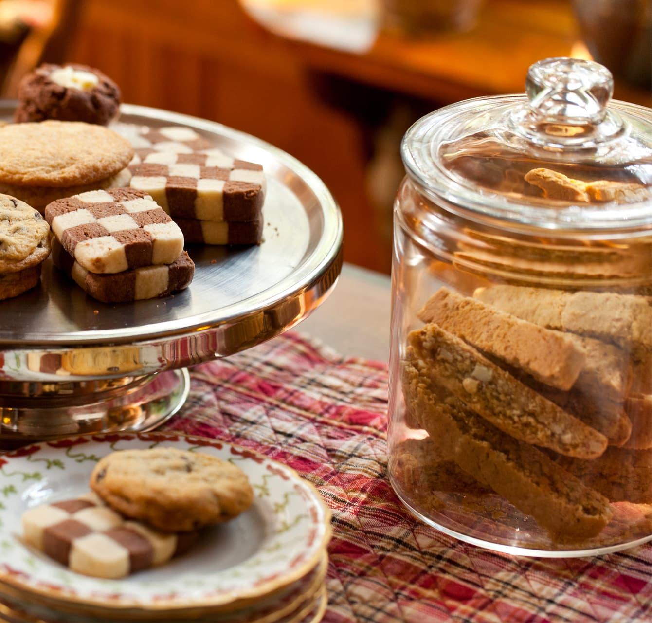 assortment of baked goods checkerboard cookies