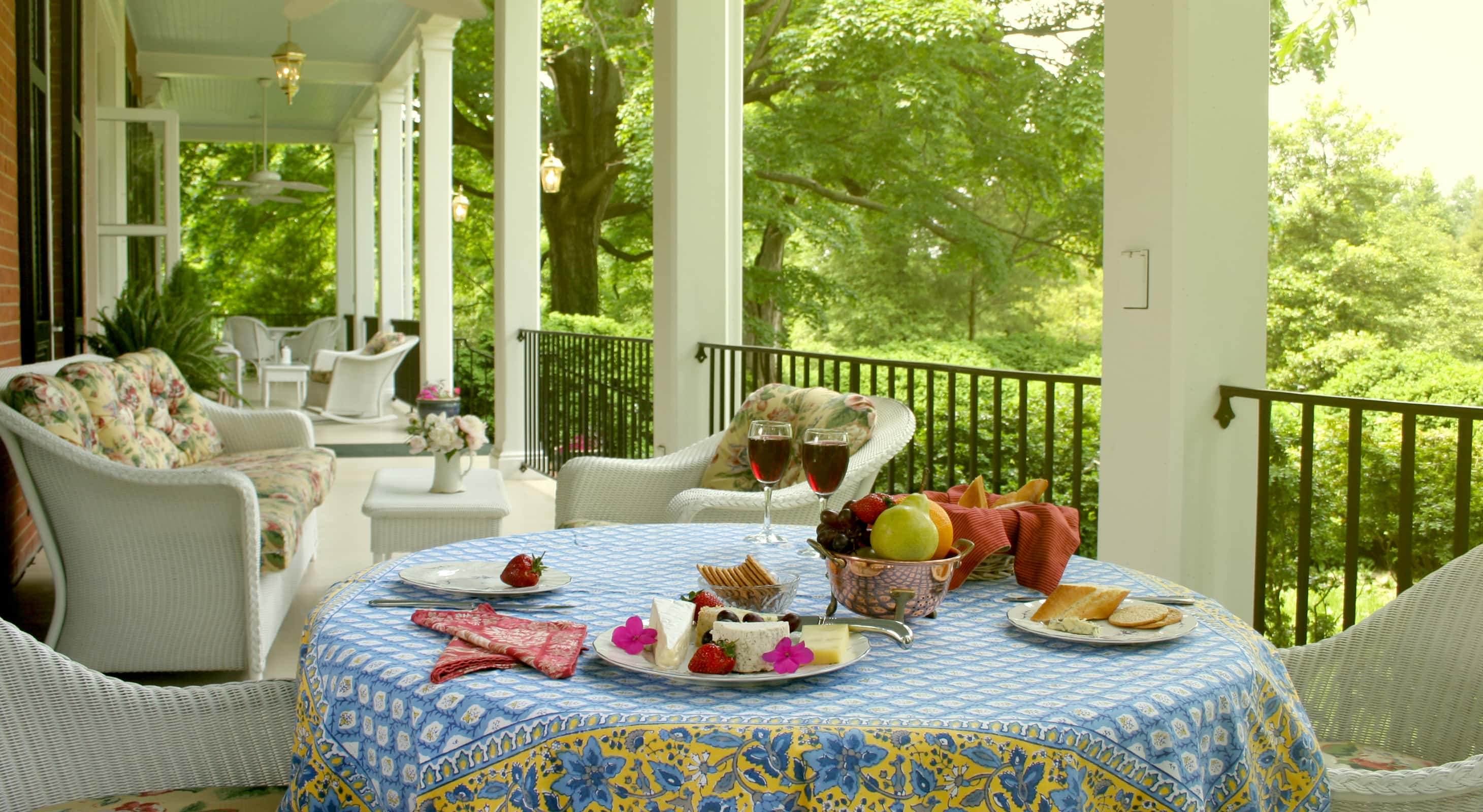Porch with afternoon tea at our historic Maryland B&B