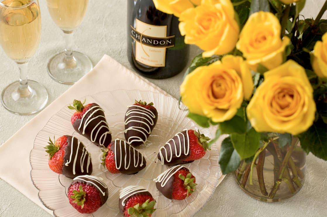 chocolate strawberries and Champagne