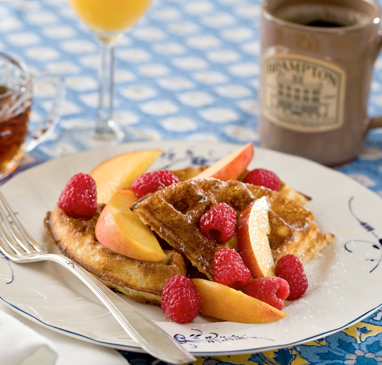 peach waffles at Chestertown bed and breakfast