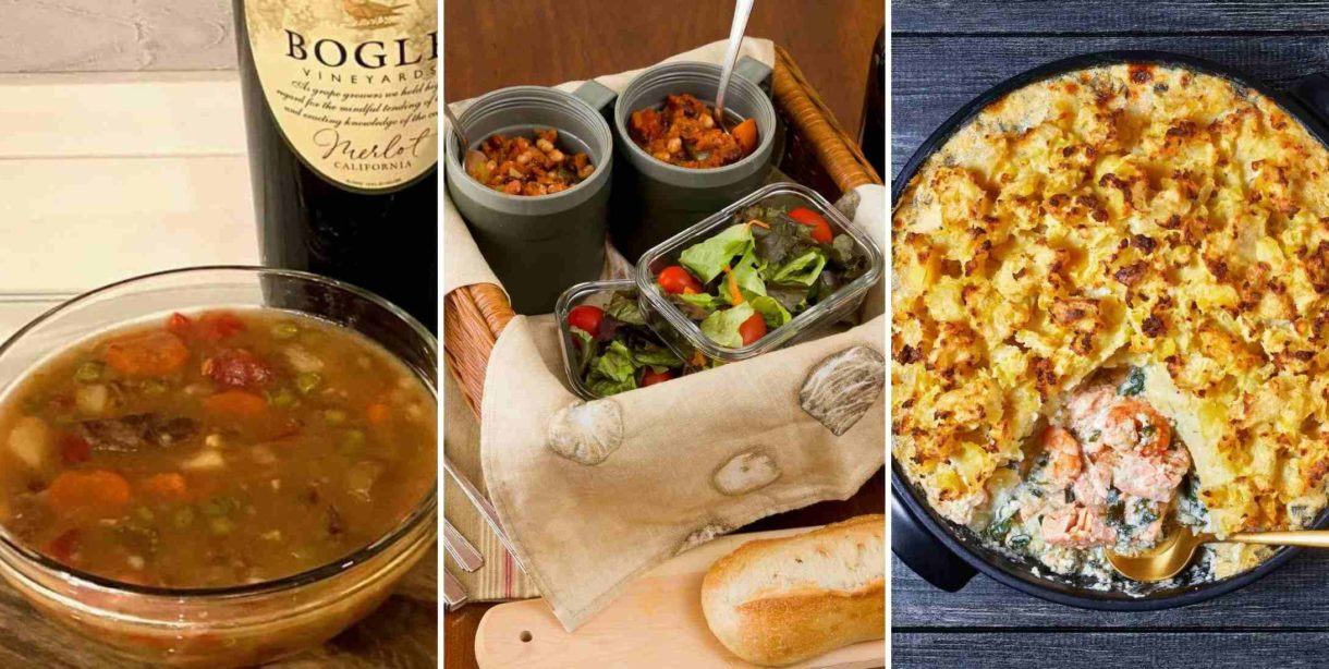 stew, chili, and seafood pie dinners