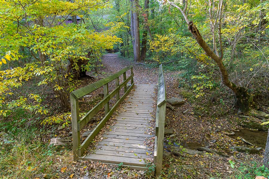 Foot bridge on one of the best hikes in Maryland
