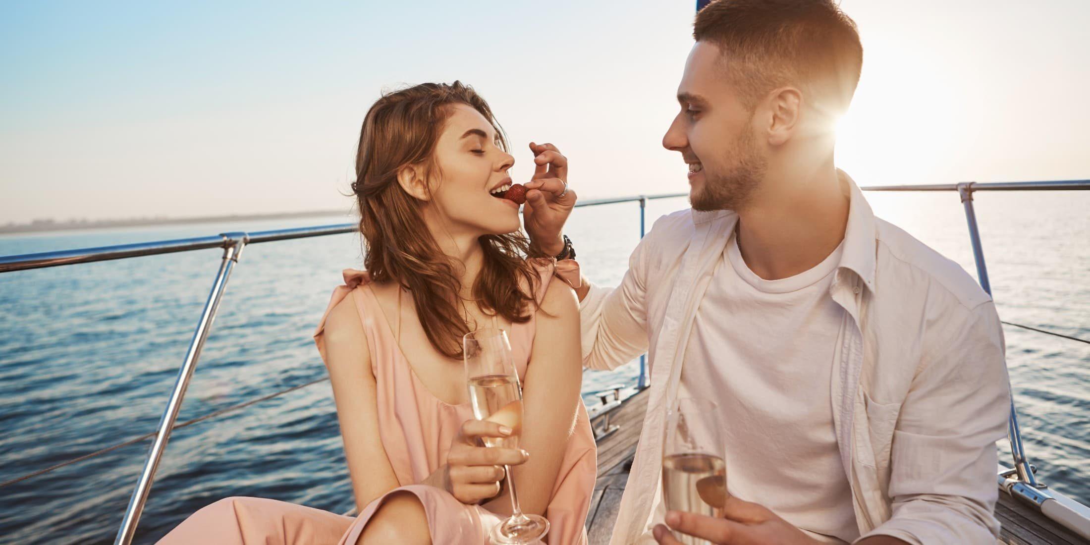 romantic couple set sail at sea