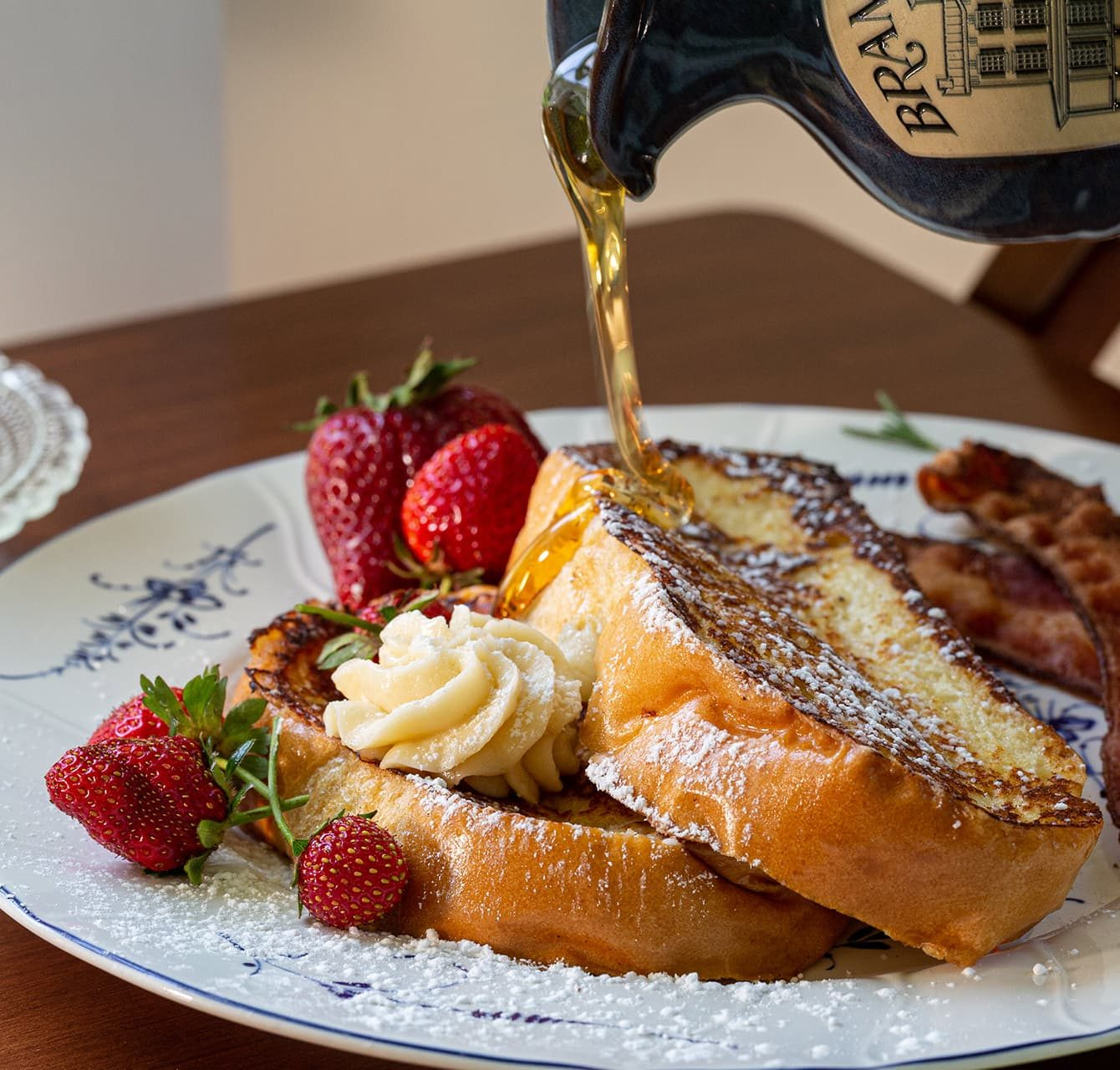 French toast and strawberries for breakfast
