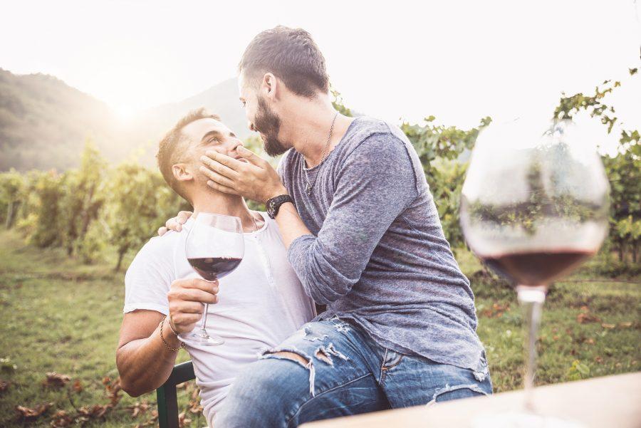 a gay couple at a vineyard