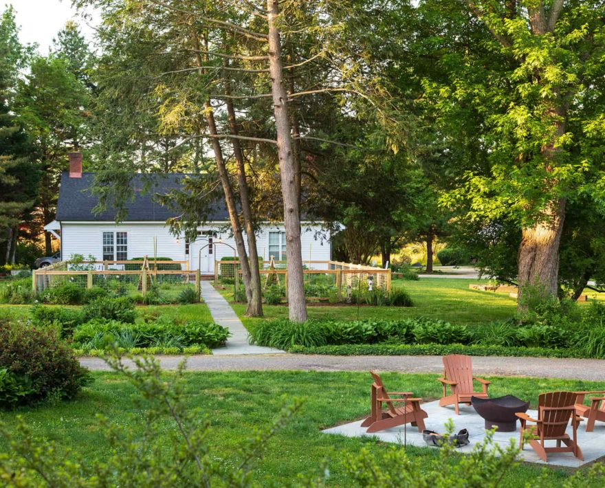 fire pit and garden at our Eastern Shore B&B