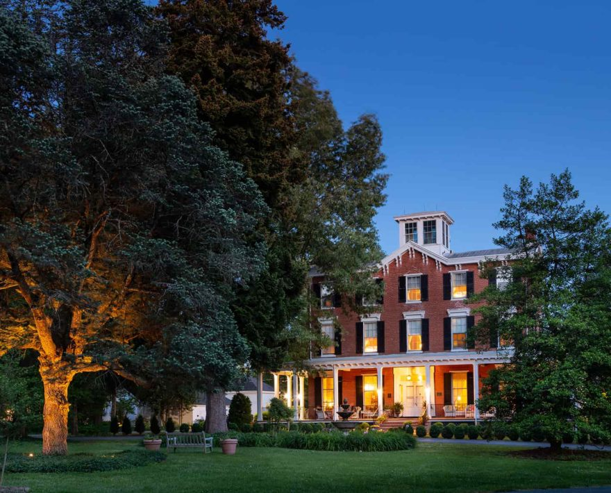 inn and grounds in the evening